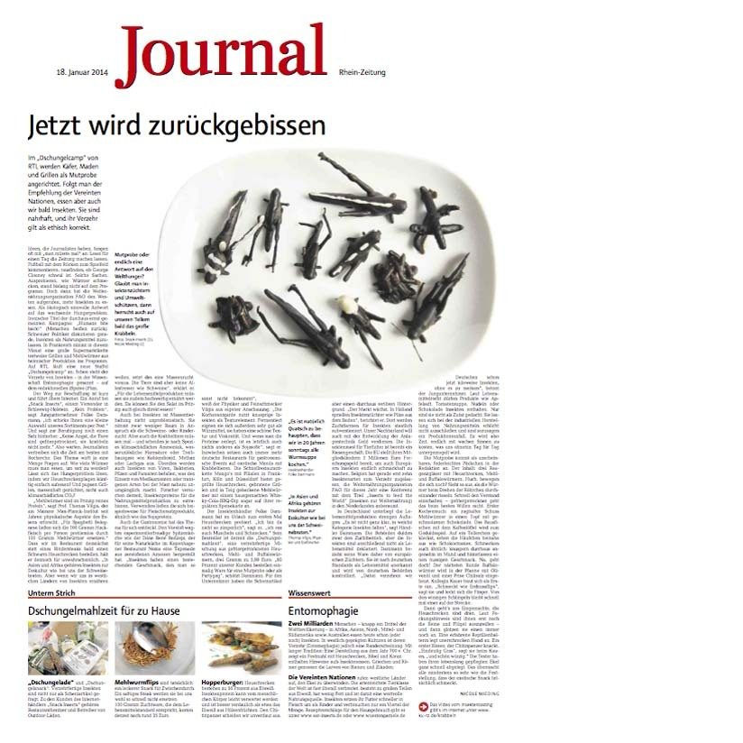 SNACK-INSECTS ESSBARE INSEKTEN INSEKTENSNACKS RHEIN ZEITUNG JOURNAL