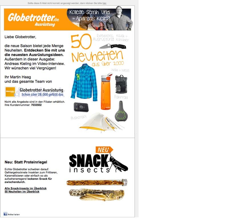 SNACK-INSECTS ESSBARE INSEKTEN BEI GLOBETROTTER